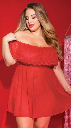 291f0405688 Flaunt your flirty side in this plus size red babydoll set featuring  off-the-