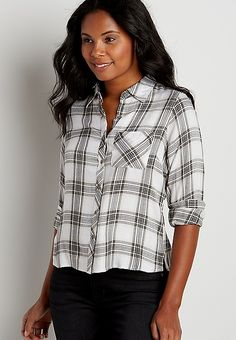 button down cropped plaid shirt | maurices