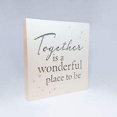 """Light Up Together Plaque; This is a wooden frame that lights up and reads """"Together is a wonderful place to be"""" Engagement Signs, Engagement Presents, Engagement Ideas, Lesbian, Gay, Online Gifts, Wonderful Places, Wooden Frames, Light Up"""