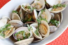 Steamed Clams with Fresh Basil - one of my favorite seafood meals! Love steamed clams!