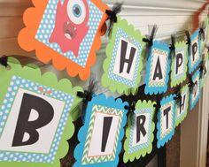 Invitación de cumpleaños Monster poco  cal verde Chevron azul