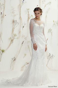 Lillian West Spring 2016 Wedding Dresses | Wedding Inspirasi | Long Sleeve Lace Column/Sheath Bridal Gown With Sheer Neckline & Sleeves, Court Length Train<<<<