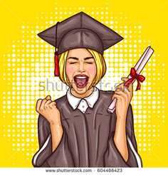 Vector pop art illustration of an excited young girl graduate student in a graduation cap and mantle with a university diploma in her hand. The concept of celebrating the graduation ceremony