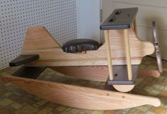ROCKING AIRPLANE Amish Handmade Solid Oak Rocker Horse BiPlane with Working Propeller and Faux Leather Seat Made in USA                                                                                                                                                                                 More