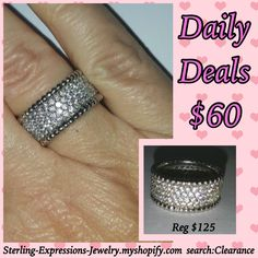 Shiny! Sparkly! BLING!!!  This incredible sterling silver micro pave cz band is jam packed with sparkle!  10mm eternity band with a perfect beaded edge to finish the perfect ring.  Would be an amazing wedding or anniversary ring!  Reg. $125
