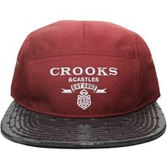 d4f11b1c7ad Crooks   Castles Mens Woven 5 Panel Cap - Praadigy Burgundy Ostrich Top  Streetwear Brands