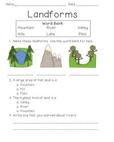 Landform quiz for 1st grade. Includes identifying pictures, multiple choice, and short answer. Images from Scrappin Doodles.