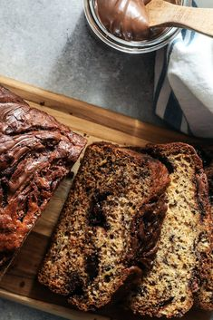 NYT Cooking: This banana bread definitely leans toward dessert, thanks to thick swirls of chocolate-hazelnut spread. Browning the butter may seem a little fussy, but it's totally worth the time and effort. Chocolate Hazelnut, Best Chocolate, Chocolate Recipes, Hazelnut Butter, Cooking Chocolate, Nutella Banana Bread, Banana Bread Recipes, Delicious Desserts, Dessert Recipes