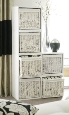 White Modular Storage Cubes with Matching Wicker Baskets - Bedroom, Living Room