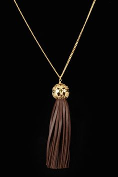 Leather Tassel Necklace In Gold.