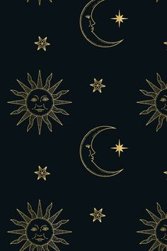This starry, celestial pattern set consists of 12 seamless vector patterns that were made with elements from my Stars & Celestial Bodies Graphic Pack: . Witchy Wallpaper, Look Wallpaper, Iphone Background Wallpaper, Retro Wallpaper, Aesthetic Iphone Wallpaper, Aesthetic Wallpapers, Mystic Wallpaper, Moon And Stars Wallpaper, Sun Background