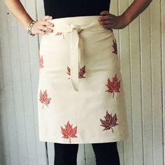 Items similar to Canadiana gift! ORGANIC canvas apron hand printed with red maple leaves, host gift, custom colours available on Etsy Aprons, My Etsy Shop, Organic, Canvas, Trending Outfits, Unique Jewelry, Handmade Gifts, Skirts, Clothes