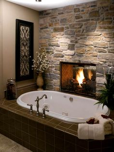 I would have done something more in keeping with the stone wall instead of the shiny brown tile; like the stone and see through fireplace (FHR)