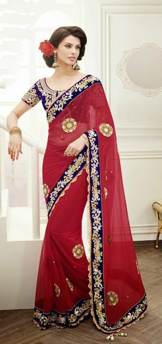 Designer Red Saree In georgette . Shop at  - http://www.gravity-fashion.com/designer-red-saree-in-georgette-gf9140149.html