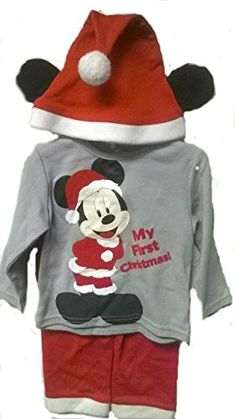Disney Mickey My First Christmas 3 Pcs Outfit Grey Top Red Cap and Bottom *** For more information, visit image link. (This is an affiliate link) #ChristmasGirlsOutfit