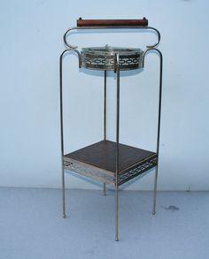 Vtg Mid Century Modern Gold Smoke Smoking Stand W/Glass Ashtray Wood Handle
