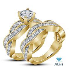 14k Yellow Gold Finish Round Cut Diamond 925 Silver Bridal Ring Set 2.75 CT 5-12 #Affoin8