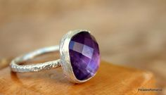 Silver Amethyst Ring Gemstone Ring Natural by PleiadesRomance