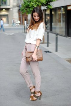 Brown sandals, white tee and slouchy pants