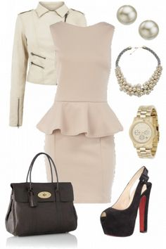 Gorgeous work outfit with christian louboutin heels, michael kors watch and…