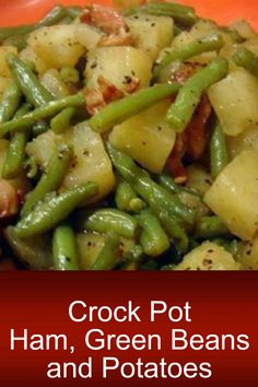 Crock Pot Ham, Green Beans and Potatoes is such an easy recipe. Put the ingredients in your crock pot and you will have a full meal for your family. Crock Pot Ham, Green Beans and Potatoes is such an easy recipe. Put the ingredients in your crock Crockpot Dishes, Crock Pot Slow Cooker, Crock Pot Cooking, Easy Cooking, Healthy Cooking, Slow Cooker Recipes, Crockpot Recipes, Cooking Recipes, Healthy Recipes