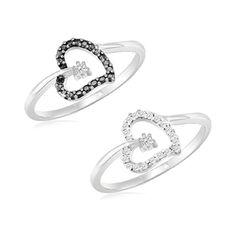 $19.99 - Choice of Black or White Diamond Accent Heart Ring in Sterling Silver