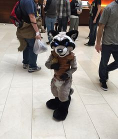 6yo Rocket Raccoon in fursuit parade at MFF 2015. <____< That moment when as six year old has a fursuit before you do.