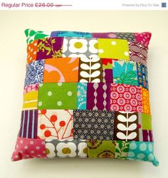 JANUARY SALE Retro Modern Patchwork Pillow / Cushion Cover - Bright contemporary tones one of a kind. £23.40, via Etsy.