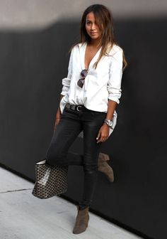 Black  & White, Black Skinny Jeans, White Blouse, Black patterned belt, Brown suede booties, Boyfriend Watch, layered necklace, minimal