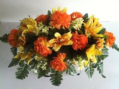 Fall color silk flower headstone saddle by GuardianFlowers on Etsy, $34.99