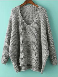 V Neck Dolman Grey Sweater