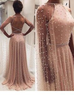 Chic A-line Long Sleeve Prom Dresses Beading Pink Long Evening Dress - Ellise M. Chic A-line Long Sleeve Prom Dresses Beading Pink Long Evening Dress - Dresses Elegant, Pretty Dresses, Beautiful Dresses, Unique Formal Dresses, Dress Formal, Formal Gowns, Formal Wear, Prom Dresses Long With Sleeves, Pink Prom Dresses