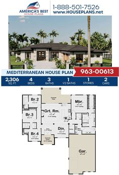 Get to know this unique Mediterranean design, Plan 963-00613 is highlighted with 2,306 sq. ft., 4 bedrooms, 3.5 bathrooms, a covered patio, a mud room, a vaulted front porch and a kitchen island. Find more details about Plan 963-00613 on our website today! #mediterraneandesign #houseplans Mediterranean House Plans, Mediterranean Design, Cad Programs, Porch Ceiling, Floor Plan Drawing, Stucco Exterior, Jack And Jill Bathroom, Cost To Build, Construction Drawings