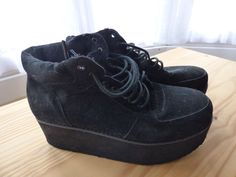 Office Black wedge/platform/creeper boots size 6
