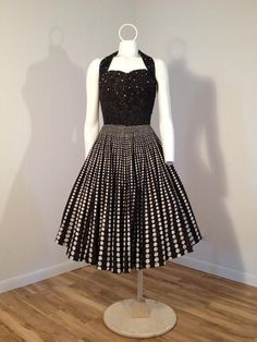 1950's Dotted Halter Dress with Rhinestones 50s Vintage