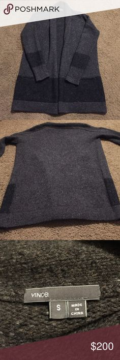 • Vince • Authentic Vince open front cardigan. Heavy weight for Crisp weather. Charcoal gray, black and brown. Fabrication made up of wool, cashmere, mohair and polyamide. Size small. Some pilling throughout.                                        ❌Trades  💯Authentic  ❌PayPal  💕Discounts on Bundles  ✅Offers Welcome  🙋Yes to Questions Vince Sweaters Cardigans