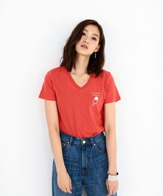 AZUL by moussy LADYS(アズールバイマウジーレディス)のV/NワンポイントプリントT(Tシャツ/カットソー)|詳細画像