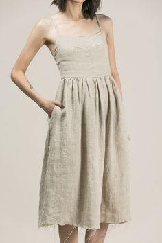 MATHILDE WASHED LINEN DRESS-NATURAL – Sisters Of The Black Moon