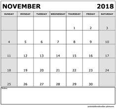 November 2018 Printable Calendar November Printable Calendar, Free Calendar, Calendar 2018, Blank Calendar, Printable Calendar Template, Printables, Print Templates