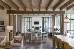 Keeping room with beams and iron windows and doors: pritchett+dixon. Cool Rooms, Great Rooms, Cottage Design, House Design, Family Room Design, Cottage Homes, Residential Architecture, Home And Living, Eye Candy