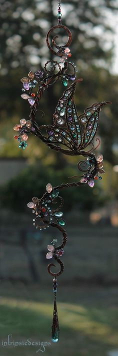 Butterfly Suncatcher with Gemstones, Swarovski Crystals and Mixed Metals