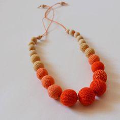 Tangerine Gradient Nursing Necklace - Teethe Crochet Bead Baby Toy - Toy For Newborn Boy Girl - Waldorf Baby Rattle Toy - Feeding Toy