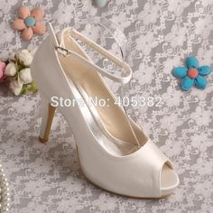 44.99$  Watch here - http://alis35.shopchina.info/1/go.php?t=32371759113 - Wedopus High Heels Ivory Satin Wedding Shoes Bride Woman with Ankle Strap  #magazineonlinewebsite