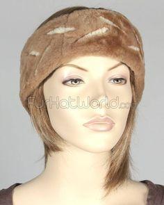 Camel Shearling Headband with Array Design $24.95