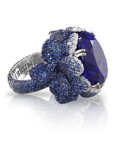 Pasquale Bruni - Anello in oro bianco con tanzanite, pavè di zaffiri blu e diamanti