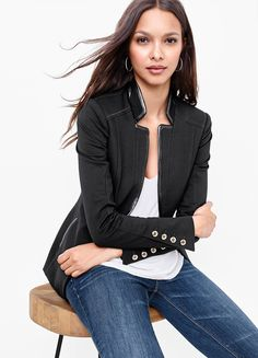 Faux leather-trim and a razor-sharp lines meet to create this modern jacket with a single button closure. It is the quintessential topper for your Basics tee and destructed denim jeans. | White House Black Market