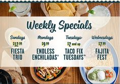 Check out the weekly specials! Varies by location!