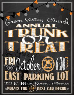 Trunk or Treat Ideas - Trunk or Treat PRINTABLE Flyer Invitation - perfect for your Church, School or Neighborhood Halloween Activity / Block Party / Event!