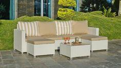 29b43398d4cbd3 Salon de jardin résine Cancun 6 places avec coussins beige Meuble Jardin,  Salon De Jardin