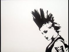 "This stencil made me think of: ""Punk Rock Girl"" by The Dead Milkmen We got into a car Away we started rollin' . Just you and me punk rock girl Punk Art, Punk Mohawk, Brody Dalle, Rock Background, Punk Rock Princess, The Distillers, Punk Rock Girls, Rocker Chick, Just You And Me"